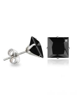 Náušnice pecky se zirkony ve tvaru čtverce z chirurgické oceli 316L - černé