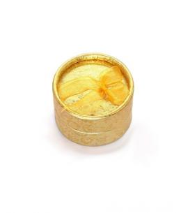 Dárková krabička na šperky - kulatá zlatá s květinovým vzorem a mašličkou