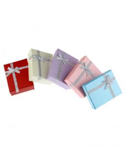 Dárková krabička na šperky - lesklá se stříbrnou mašličkou