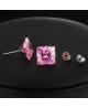 Náušnice pecky se zirkony ve tvaru čtverce z chirurgické oceli 316L - světle růžové