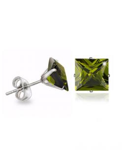 Náušnice pecky se zirkony ve tvaru čtverce z chirurgické oceli 316L - světle zelené