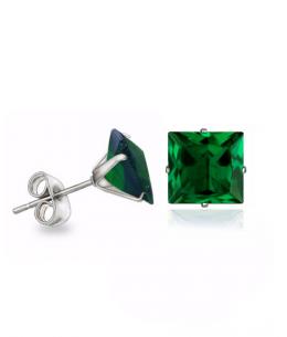 Náušnice pecky se zirkony ve tvaru čtverce z chirurgické oceli 316L - tmavě zelené