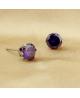 Náušnice kulaté pecky se zirkony z chirurgické oceli 316L - tmavě fialové
