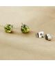 Náušnice kulaté pecky se zirkony z chirurgické oceli 316L - světle zelené