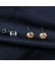 Náušnice kulaté pecky se zirkony z chirurgické oceli 316L - šampaňské (champagne)