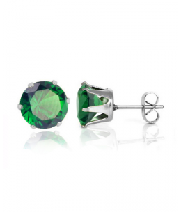 Náušnice kulaté pecky se zirkony z chirurgické oceli 316L - tmavě zelené
