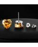 Náušnice pecky se zirkony ve tvaru srdce z chirurgické oceli 316L - šampaňské (champagne)