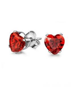 Náušnice pecky se zirkony ve tvaru srdce z chirurgické oceli 316L - červené