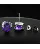Náušnice pecky se zirkony ve tvaru srdce z chirurgické oceli 316L - tmavě fialové
