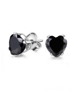 Náušnice pecky se zirkony ve tvaru srdce z chirurgické oceli 316L - černé