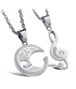 """Stylový ocelový náhrdelník puzzle - přívěsek a řetízek pro pár - muže a ženy """"pro něj a pro ni"""" se zirkony - tvar houslový klíč"""