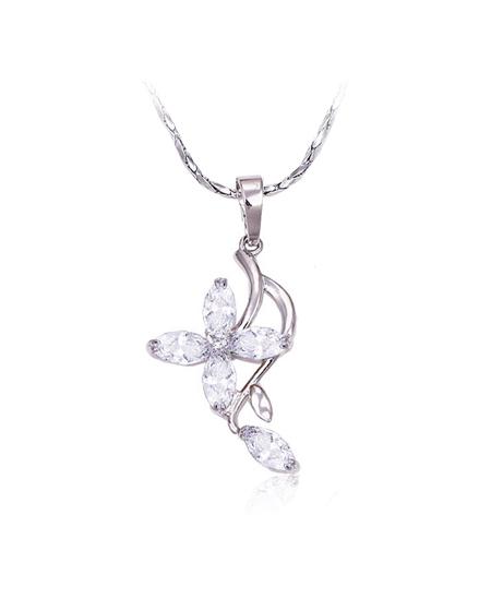 Rhodiovaný set - náušnice, řetízek a přívěsek Lilly ve tvaru květiny se zirkony