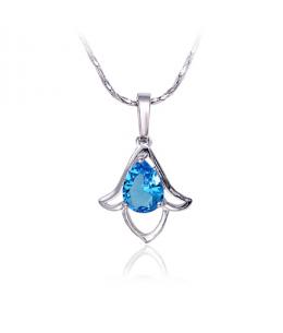 Rhodiovaný náhrdelník - řetízek a přívěsek Aquamarine Bell ve tvaru zvonku se zirkony