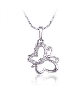 Rhodiovaný náhrdelník - řetízek a přívěsek Butterfly ve tvaru motýla se zirkony
