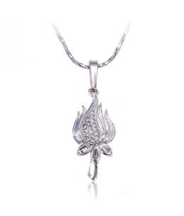 Rhodiovaný náhrdelník - řetízek a přívěsek Lotus se zirkony