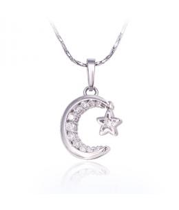 Rhodiovaný náhrdelník - řetízek a přívěsek Starry Night ve tvaru měsíce s hvězdou se zirkony
