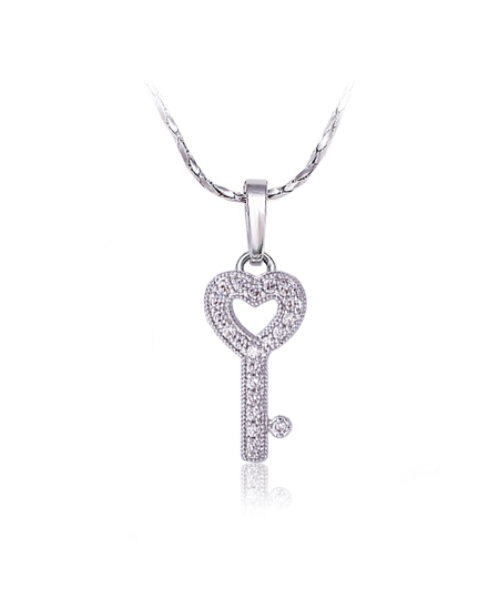 Rhodiovaný náhrdelník - řetízek a přívěsek Love Key ve tvaru klíče se zirkony