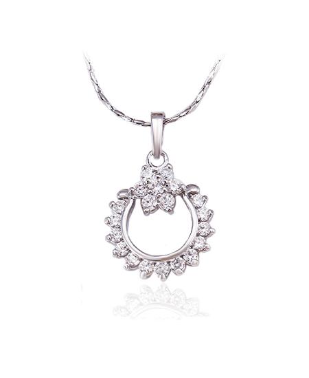 Rhodiovaný náhrdelník - řetízek a přívěsek Happiness se zirkony
