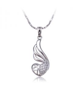 Rhodiovaný náhrdelník - řetízek a přívěsek Winged Heart ve tvaru okřídleného srdce se zirkony