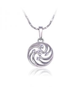 Luxusní rhodiovaný náhrdelník - řetízek a přívěsek Amulet se zirkony