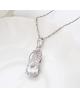 Luxusní rhodiovaný náhrdelník - řetízek a přívěsek Angel Tear ve tvaru kapky se zirkony