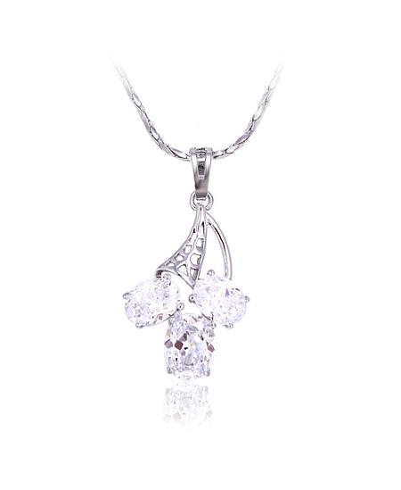 Rhodiovaný náhrdelník - řetízek a přívěsek Sail Stone se zirkony