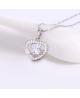 Rhodiovaný náhrdelník - řetízek a přívěsek Hearteen ve tvaru srdce se čtvercem uprostřed se zirkony