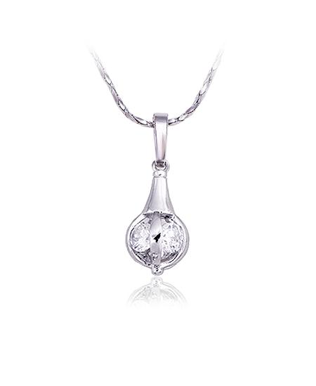 Rhodiovaný náhrdelník - řetízek a přívěsek Dangle Ball ve tvaru zavěšené koule se zirkony