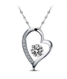 Stříbrný přívěsek ve tvaru srdce se zirkony z pravého stříbra (925/1000)