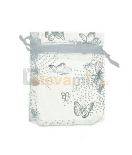 Bílý dárkový organzový pytlíček na šperky - motiv motýl (90x70mm)