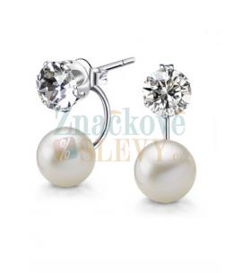 Ocelové náušnice Pearl Crystals s perlou a krystaly Swarovski