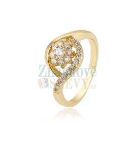 Pozlacený prsten Gold Flower se zirkony