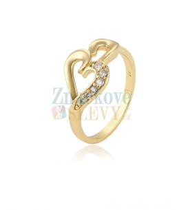 Pozlacený prsten Gold Heart se zirkony