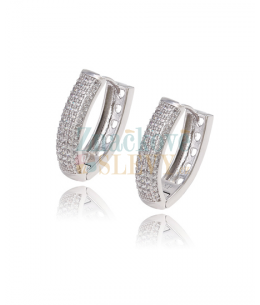 Luxusní rhodiované naušnice kroužky Diamond Pavé se zirkony