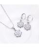 Rhodiovaný náhrdelník - řetízek a přívěsek Jasmine ve tvaru květiny se zirkony