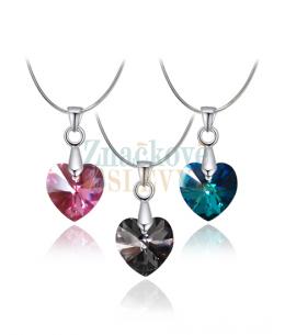 Elegantní ocelový náhrdelník Xilion Heart s krystalem Swarovski ve tvaru srdce - chirurgická ocel 316L