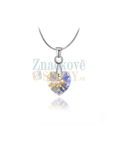 Elegantní ocelový náhrdelník Xilion Heart s krystaly Swarovski ve tvaru srdce - chirurgická ocel 316L
