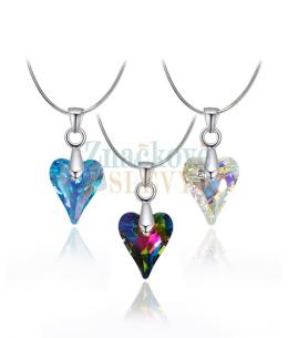 Elegantní ocelový náhrdelník Wild Heart s krystalem Swarovski ve tvaru srdce - chirurgická ocel 316L