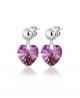 Elegantní ocelové náušnice Xirius Heart s krystaly Swarovski ve tvaru srdce - chirurgická ocel 316L