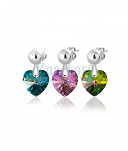 Elegantní ocelové náušnice Xilion Heart s krystaly Swarovski ve tvaru srdce - chirurgická ocel 316L