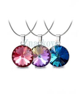 Ocelový náhrdelník - řetízek a přívěsek Rivoli Unique zn. Jewellis s krystaly Swarovski - chirurgická ocel 316L