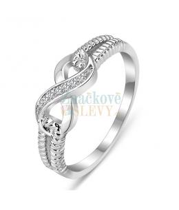 Luxusní stříbrný prsten Infinity se zirkony z pravého stříbra (925/1000)