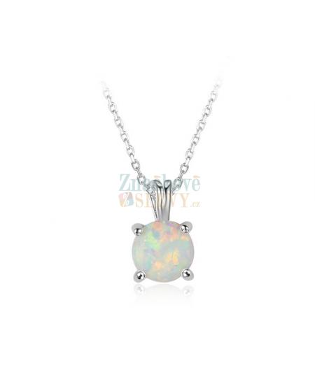 Stříbrný náhrdelník Solitare - řetízek a přívěsek  se zirkony a opálem z pravého stříbra (925/1000)