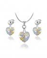 Elegantní ocelový set Xilion Hearts s krystaly Swarovski ve tvaru srdce - chirurgická ocel 316L