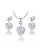 Elegantní ocelový set Xirius Heart s krystaly Swarovski ve tvaru srdce - chirurgická ocel 316L