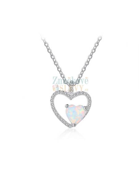 Stříbrný náhrdelník Doubleheart - řetízek a přívěsek ve tvaru dvojitého srdce se zirkony a opálem z pravého stříbra (925/1000)