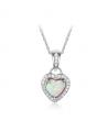 Stříbrný náhrdelník Heartlock - řetízek a přívěsek ve tvaru srdce se zirkony a opálem z pravého stříbra (925/1000)