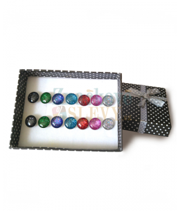 7dílný ocelový set náušnic Galactic Buttons v dárkové krabičce - chirurgická ocel 316L