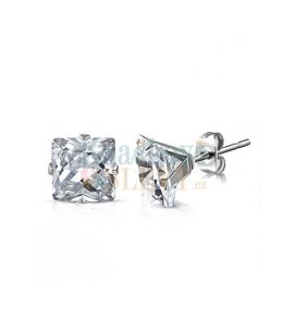 Ocelové náušnice pecky Xilion Square ve tvaru čtverce s krystaly Swarovski - chirurgická ocel 316L