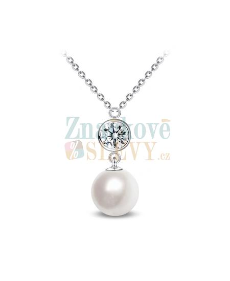 Ocelový náhrdelník Princess Pearl s perlami a krystaly Swarovski - chirurgická ocel 316L